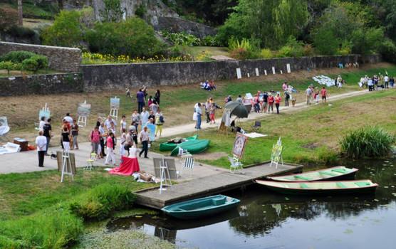 peintres et visiteurs au bord de la rivière le Havre